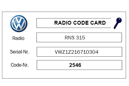Radio Code Card